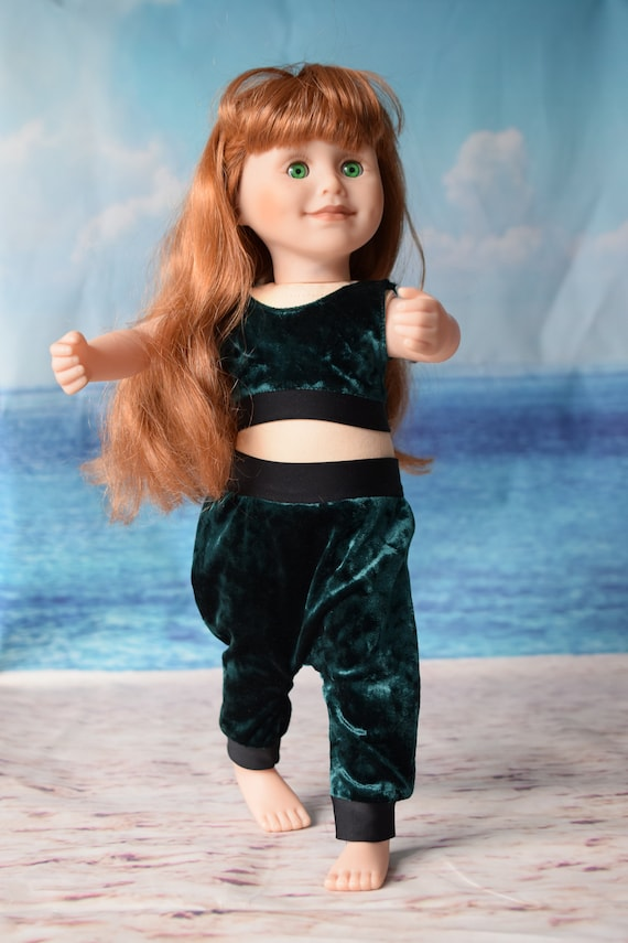 """Doll 2-piece Outfit, Crop Top & Harem Pants in Green Velour, 18"""" Doll, Sized to Fit Popular 18"""" Dolls, Quality Hand-made Outfit, Girl Gift"""