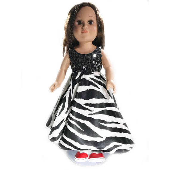 """Long Party Dress with Sequins and Zebra Print for American Girl and Other 18"""" Dolls"""
