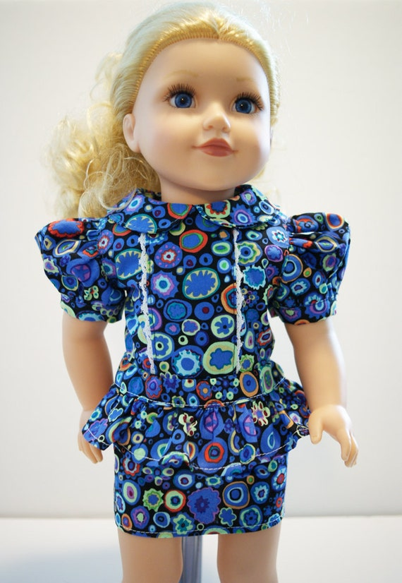 "2-piece Outfit for 18"" Dolls in Periwinkle Pattern"