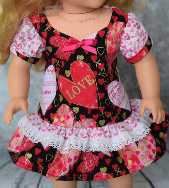 "American Girl Doll Clothes - Doll Dress - Girl Gift - Valentine's Day Dresses for 18"" Dolls (Pink Hearts / Love & Kisses)"