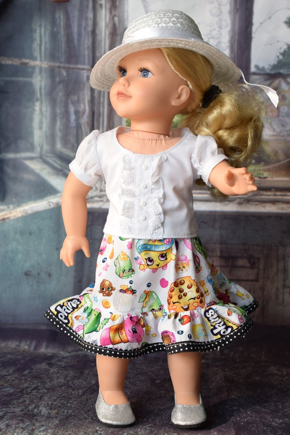"""Cotton Doll Outfit, 2-piece Blouse & Skirt Outfit, Hand-made Puff-Sleeved Blouse and Skirt, Sized to fit Popular 18"""" Dolls, Girl Gift"""