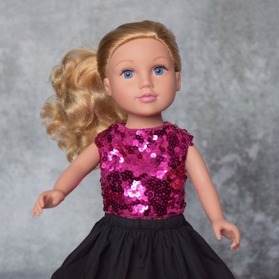 "American Girl Doll Clothes - Doll Clothing - Girl Gift - Fuschia Sequin Blouse with Black Skirt: Knee- of Full-Length for 18"" dolls."