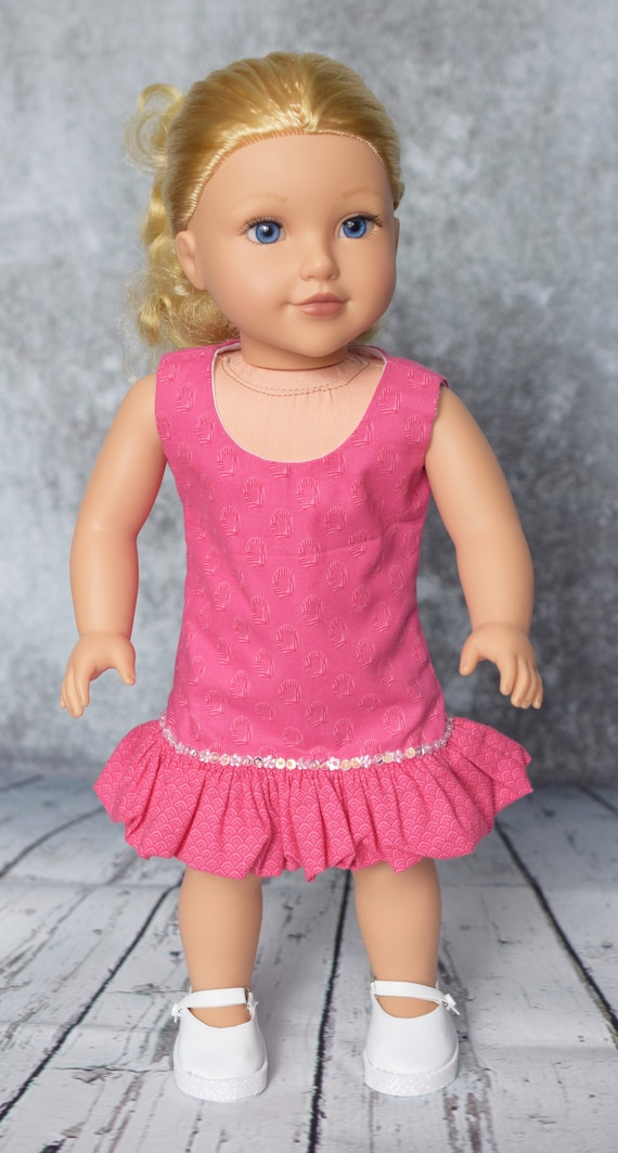 Cotton Ruffled Sheath Doll Dress with Sequin Detail, American Girl Doll Clothing, Quality Hand-made Pink or Blue Party Dress, Girl Gift A111