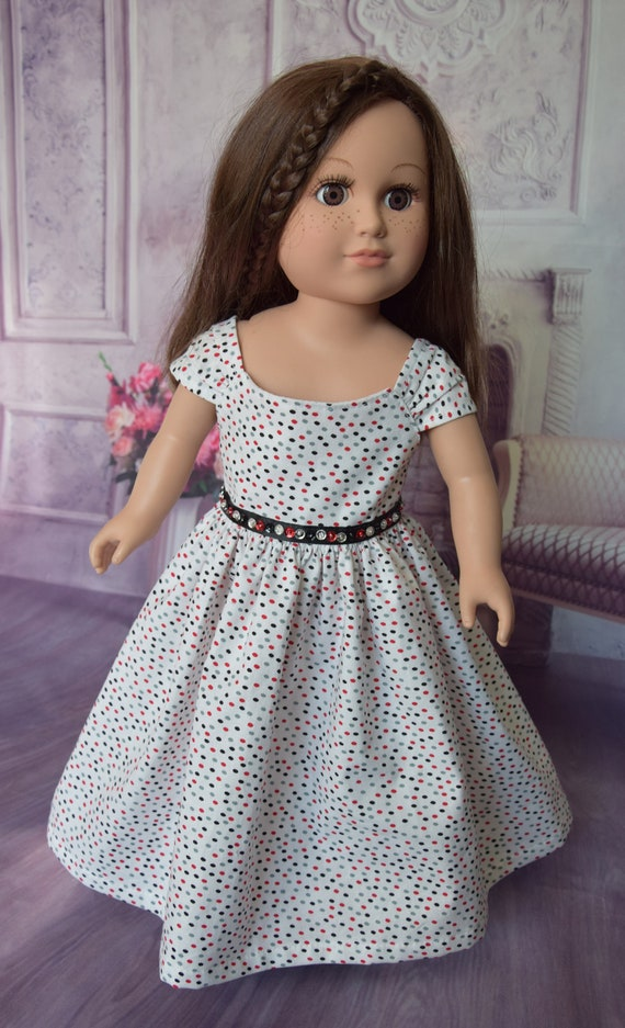 "Hand-made Cotton Party Long Dress with Extra Full Skirt and Sequin Detailing for 18"" Dolls."