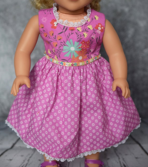 "American Girl Doll Clothes - Doll Dress - Girl Gift - Party Dresses (3 Styles) for 18"" Dolls: Purple Floral"