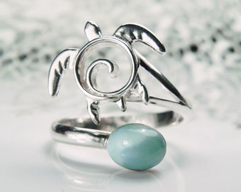 Silver Sea Turtle Ring - Larimar Jewelry - Adjustable Ring - Sterling Silver Honu - Unique Turtle Jewelry - Blue Sea Life Nautical Ocean