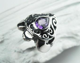Sea Turtle Ring Amethyst - Amethyst Sea Turtle Ring - Silver Gemstone Turtle Ring - Amethyst February Birthstone Ring - Nature Ring
