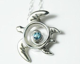 Sea Turtle Necklace - Blue Topaz Turtle Necklace - Silver Sea Turtle Jewelry - Sea Turtle Pendant - December Birthstone