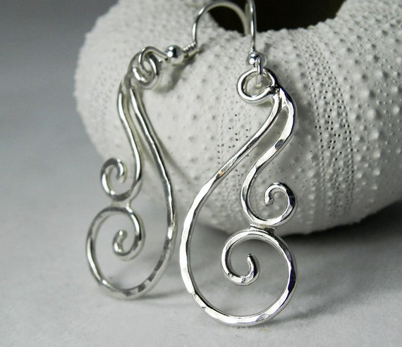 spiral silver earrings hammered Swirl silver earrings ocean silver earrings