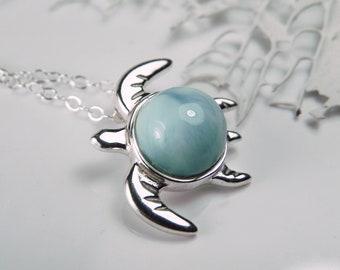 Larimar Necklace Sterling Silver Sea Turtle - Larimar Turtle Shell Pendant