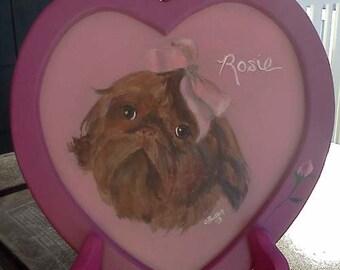 Heart shaped pet portrait,heart shaped frame, purple, pink,,portrait on stand,little dog,