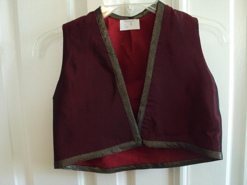 iridescent taffeta kids sixe 8 Dark red Genie vest