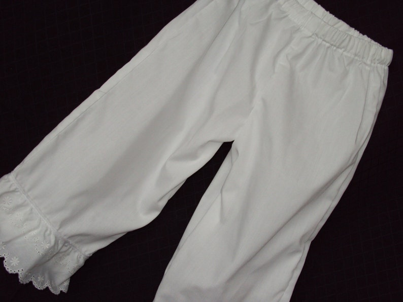 White Pantaloons--use under hoop dresses,--one row of eyelet lace--terrific under long full Dresses-old timey costumes COVID FAMILY FUN