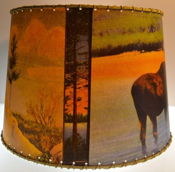 Adirondack Moose Deer Bear Lamp Shade Small Clip Top