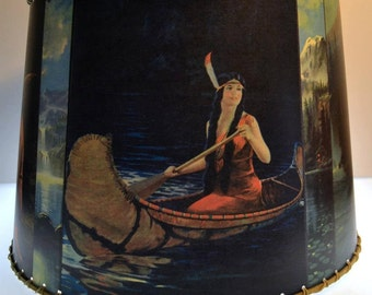 Indian Maiden Lamp Shade, 10 x 12, Rustic Cabin Decor