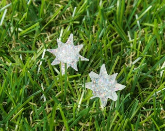 White Glitter Star Stud Earrings, Laser Cut Acrylic, Star Earrings, White Stars, Star Jewelry, Sparkle Stars