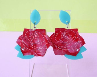 Spider and Rose Dangle Earrings, Laser cut acrylic earrings