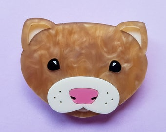 Sandy the Ferret Brooch, Laser Cut Acrylic Jewellery