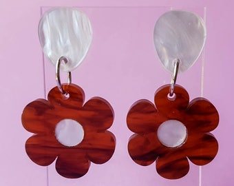 Tortoise Shell or Pink Flower Dangle Earrings, Laser Cut Acrylic Earrings