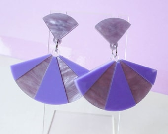 Lavender Fan Dangle Earrings, Laser cut acrylic earrings