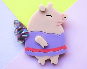 Faepig the Fairy Pig Acrylic Brooch