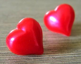 Red Heart Post Earrings Stud Earrings 15mm
