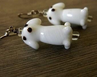 Cute White Dog Earrings Lampwork Glass Dangle Earrings