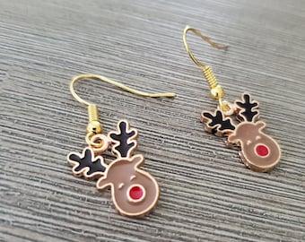 Reindeer Earrings Gold Color Enamel Earrings Dangle Earrings