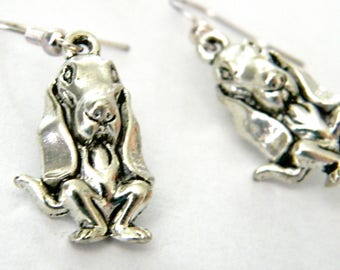 Basset Hound Dog Earrings Silver Color Dangle Earrings Beagle Earrings