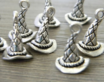 Wizard Hat Charms Set of 8 Silver Color Three Dimensional 15x10mm