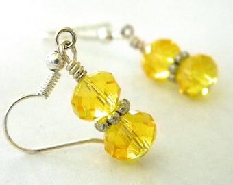 Yellow Glass Earrings Dangle Sparkly Earrings