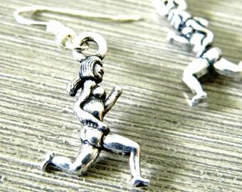 Runner Girl Earrings Silver Color Dangle Earrings Jogger Earrings Female