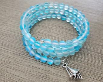 Aqua Blue Mermaid Glass Bracelet Memory Wire Bracelet Shell Charm