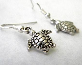 Silver Sea Turtle Earrings Dangle Earrings