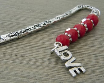 Love Bookmark with Red Ruby Quartz Glass Beads Short Shepherd Hook Bookmark Silver Color