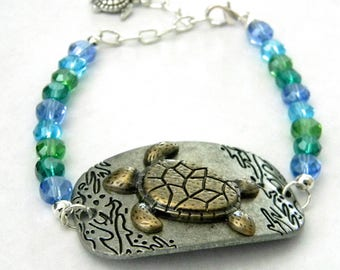 Sea Turtle Bracelet Aqua Glass Bead Mix and Metal Bracelet with Adjustable Chain  Bracelet