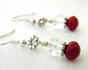 Ruby Quartz Earrings Glass Earrings Red Dangle Earrings with Clear Beads