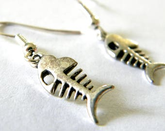 Silver Fish Skeleton Earrings Dangle Earrings