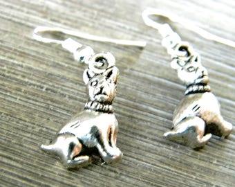 Dog Earrings Silver Color Dangle Earrings Boston Terrier Boxer Earrings