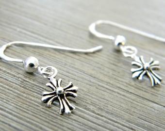 Petite Sterling Silver Cross Earrings Dangle Earrings