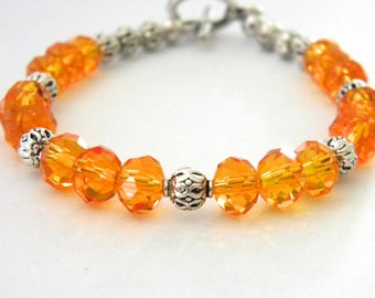 Orange Glass Bracelet Beaded Bracelet Toggle Clasp
