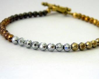 Mixed Metal Hematite Beaded Bracelet Gold Toggle Clasp