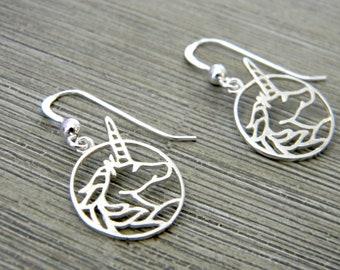 Sterling Silver Unicorn Earrings, Dangle Earrings, Unicorn Circle Earrings, Fantasy Earrings