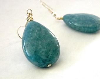 Angelite Stone Earrings Teardrop Earrings Pear Earrings Dangle Earrings