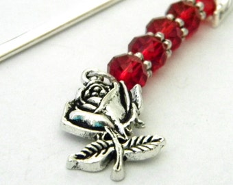 Rose Bookmark with Red Glass Beads Shepherd Hook Steel Bookmark Silver Color Flower Bookmark