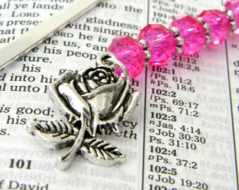 Rose Bookmark with Hot Pink Glass Beads Shepherd Hook Steel Bookmark Silver Color Flower Bookmark