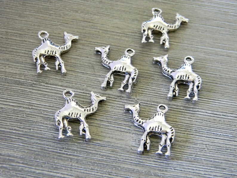 Camel Charms Set of 6 Silver Color 21x18mm image 0