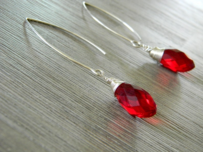 Red Crystal Glass Drop Earrings Long V Wire Earrings image 0