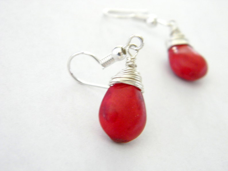 Wire Wrapped Red Stone Earrings Teardrop Howlite Earrings image 0