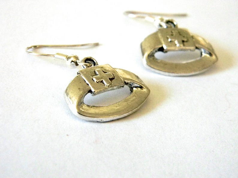 Nurse Hat Earrings Dangle Earrings Nurse Cap Earrings Silver Color Medical Earrings
